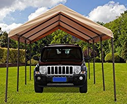 SORARA Carport 10′ x 20′ Heavy Duty Outdoor All-Purpose Car Canopy Storage Shelter with 8 Steel Legs, Beige