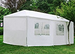 Woworld Outdoor Canopy Tent 10ftx30ft Carport Sidewalls Windows Wedding Party Tent White(10×30)