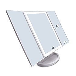 CZW Lighted Makeup Mirror with Touch Control and 3X/2X/1X Magnification, USB Charging Two Power Supply Tabletop Tri-fold LED Mirror, 180 Degree Free Rotation Makeup Mirror (White)