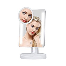 KEDSUM LED Lighted Makeup Mirror,Dimmable Vanity Mirror with Lights,Tabletop Mirror with 5X Pocket Mirror,180° Adjustable Touch Screen,Batteries or USB Charging