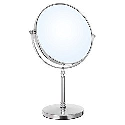 SONGMICS 8-Inch LARGE Tabletop Vanity Makeup Mirror Two-sided 7x Magnifying Swivel Cosmetic Mirror, 14-inch Height Chrome UBBM07S