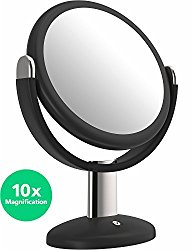 Vremi 10x Magnified Vanity Mirror – 7 Inch Round Makeup Cosmetic Mirror for Bathroom or Bedroom Table Top – Portable Double Sided Glass Mirror Stand with 360 Degree Swivel – Black