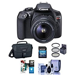 Canon EOS Rebel T6 Digital SLR Camera Kit with EF-S 18-55mm f/3.5-5.6 IS II Lens – Bundle With Camera Case, 16GB SDHC Card, Cleaning Kit, 58mm UV Filter, Software Package