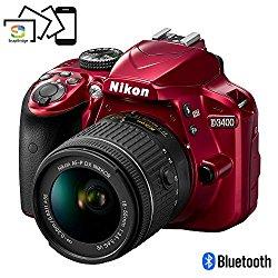 Nikon D3400 Digital SLR Camera & 18-55mm VR DX AF-P Zoom Lens (Red) – (Certified Refurbished)