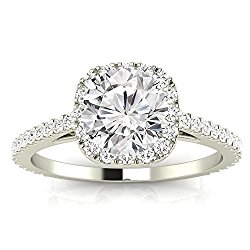 1.85 Cttw 14K White Gold Round Cut Gorgeous Classic Cushion Halo Style Diamond Engagement Ring with a 1.5 Carat I-J Color I2 Clarity Center