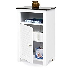Best Choice Products Bathroom Floor Storage Cabinet w/ Faux Black Granite Top (White)