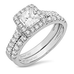 Clara Pucci 1.5 CT Princess Cut Pave Halo Bridal Engagement Wedding Ring band set 14k White Gold