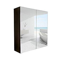 Elecwish 24″ Wide Wall Mount Mirrored Bathroom Medicine Cabinet Storage 2 Mirror Door (23.6″ 23.6″ 6.3″)