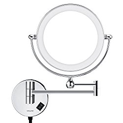 Spaire Bathroom mirror 5X/1X Magnifying LED Lighted 7 inch Double-Sided Wall Mount Makeup Mirror All-brass Mirror Frame and Arms Stainless Steel Chassis Chrome Finish for Home Spa and Hotel