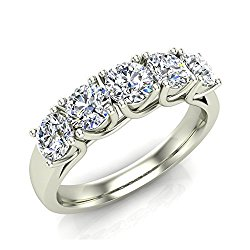 1.10 ct tw Classic Five Stone Diamond Wedding Band Ring 14K Gold (J,I1) Popular Quality