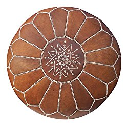 Maison Marrakech| Beautiful Handmade Real Leather Footstool Pouf from Marrakech | Colour Tan with White Stitching | Delivered unstuffed