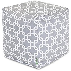 Majestic Home Goods Links Indoor / Outdoor Bean Bag Ottoman Pouf Cube, 17″ x 17″ x 17″ (Gray)