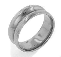 7mm Saturn Concaved High Polish Titanium Comfort Wedding Band Ring(Sizes 6,7,8,9,10,11,12)