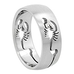 Surgical Stainless Steel 8mm Scorpion Wedding Band Ring Cut-out Pattern, sizes 8 – 14