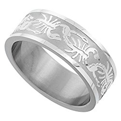 Surgical Stainless Steel 8mm Scorpion Wedding Band Ring Erched Pattern Matte finish, sizes 8 – 14