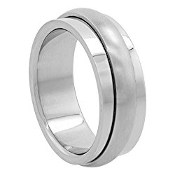 Surgical Stainless Steel 8mm Spinner Wedding Band Ring Domed Matte Center, sizes 7 – 14