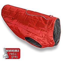 Kurgo Loft Dog Jacket and Reversible Dog Coat, Red / Dark Charcoal Grey, Medium