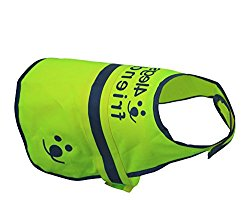 Dog Safety Reflective Vest 5 Sizes for best fit – High Visibility for Outdoor Activity Day and Night, Keep Your Dog Visible, Safe From Cars & Hunting Accidents | Yellow by 4Legs Friend (Large)