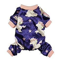 Fitwarm Fairy Unicorn Dog Pajamas Pet Clothes Jumpsuit PJS Apparel Soft Velvet Purple Medium