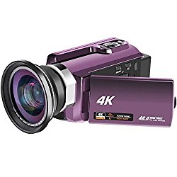 4K Video Camera 48MP WiFi Video Camcorder Ultra HD Digital Camera Camcorders with IR Night Vision and External Wide Angle Lens