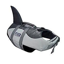 Dog life jackets Dog saver Life Jacket Dog Swimming Vest Adjustable Life Jacket for Dogs (L, Grey)