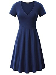 FENSACE Graduation Dress, Womens V Neck Pockets Simple Casual Swing Dress Large