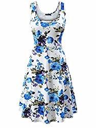 FENSACE Women's Sleeveless Scoop Neck Summer Beach Midi Flared Tank Dress (Medium, 17020-9)