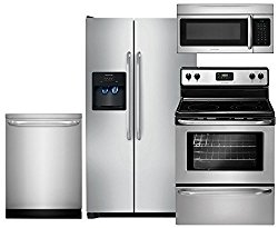 Frigidaire 4-Piece Stainless Steel Package with FFSS2614QS 36″ Side-by-Side Refrigerator, FFEF3043LS 30″ Electric Range, FFID2423RS 24″ Dishwasher and FFMV164LS 30″ Microwave