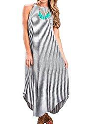Halife Women Summer Boho Sleeveless Stripe Long Maxi Dress Beach Sundress (XL, Stripe)