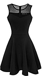 Heloise Women's A-Line Sleeveless Pleated Little Black Cocktail Party Dress (L, Black)