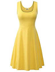 Herou Women Summer Beach Casual Flared Midi Tank Dress Large Yellow