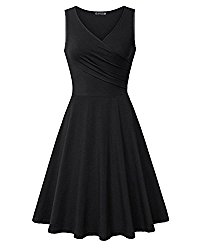 KILIG Women's V Neck Sleeveless Summer Casual Elegant Midi Dress(Black,XL)