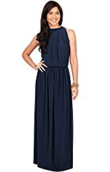 KOH KOH Plus Size Womens Long Sexy Sleeveless Bridesmaid Halter Neck Wedding Party Guest Summer Flowy Casual Brides Formal Evening A-line Gown Gowns Maxi Dress Dresses, Navy Blue XL 14-16