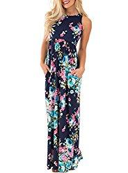 Lovezesent Women's Floral Print Round Neck Sleeveless Long Maxi Casual Dresses Medium Blue