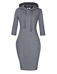 MISSKY Women Pullover Stripe Pocket 3 4 Long Sleeve Slim Hoodie Sweatshirt Dress Grey XL