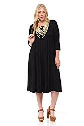 Pastel by Vivienne Women's A-Line Trapeze Midi Dress Plus Size XX-Large Black
