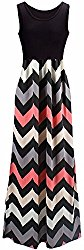 Shangke Womens Ladies Striped Zig Zag Scoop Neck Chevron Print Tank Maxi Long Party Dress (L, black 2)
