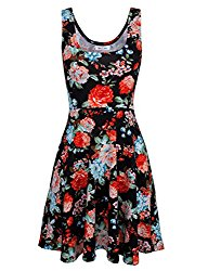 Tom's Ware Womens Casual Fit and Flare Floral Sleeveless Dress TWCWD054-BLACK-US L