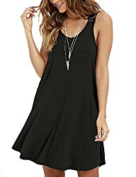 VIISHOW Women Sleeveless Summer Swing Tank Sundress,X-Large,Black