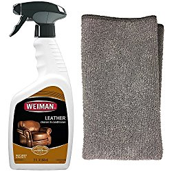 Weiman Leather Cleaner and Polish With Microfiber Cloth – Clean and Condition Car Seats, Shoes, Couches and More – 22 Fluid Ounces