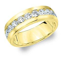 18K Yellow Gold Diamond Men's Channel Set Ring (2.0 cttw, F-G Color, VVS1-VVS2 Clarity)