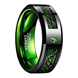 Nuncad Green Tungsten Carbide Wedding Band Ring Celtic Dragon Green Carbon Fiber for Men 8mm Size 7 to 12