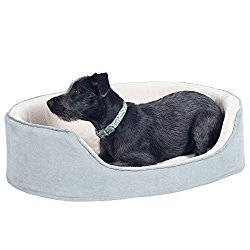 PETMAKER Large Gray Cuddle Round Suede Terry Pet Bed, 30 x 27″
