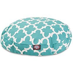 Teal Trellis Medium Round Indoor Outdoor Pet Dog Bed With Removable Washable Cover By Majestic Pet Products