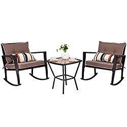 TANGKULA 3 PCS Patio Rattan Wicker Furniture Set Outdoor Garden Glass Top Coffee Table & Rocking Wicker Chair Set w/Red Cushions (brown)
