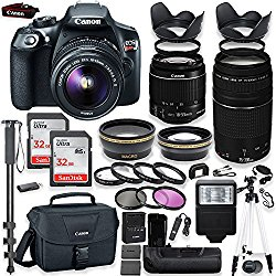 Canon EOS Rebel T6 DSLR Camera with Canon 18-55mm IS II Lens & 75-300mm III Lens Kit + Battery Grip + Canon Case + 64GB Memory + Filters + Macros + Monopod + 50″ Tripod + Professional DSLR Bundle