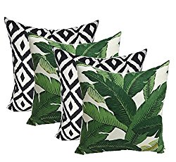 Set of 4 Indoor Outdoor Decorative Throw Pillows,Tommy Bahama Fabric Swaying Palms Aloe Green Tropical Palm Leaf & Black White Aztec Geometric – Choose Size (17″ x 17″)