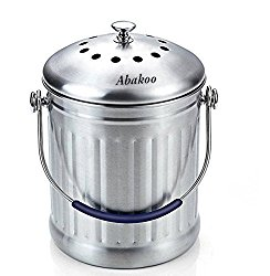 Abakoo Compost Bin 1.8 Gallon Stainless Steel 304 Stainless Steel Kitchen Composter – 4 Charcoal Filter, Indoor Countertop Kitchen Recycling Bin Pail
