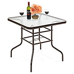 Best Choice Products 32″ Square Tempered Patio Glass Dining Table