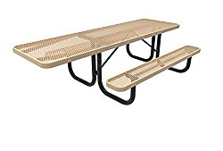 CoatedOutdoorFurniture T8H-TAN Rectangular Portable Picnic Table, Handicap Accessible on One End, 8 Feet, Tan